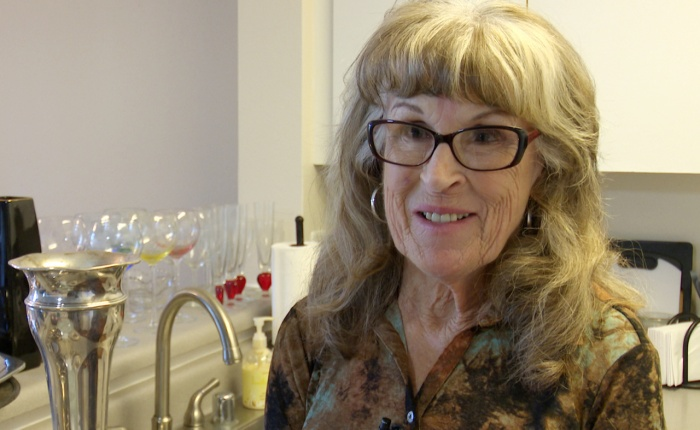 Gayle McCormick poses during interview in this still photo taken from video, inside her new apartment in Bellingham